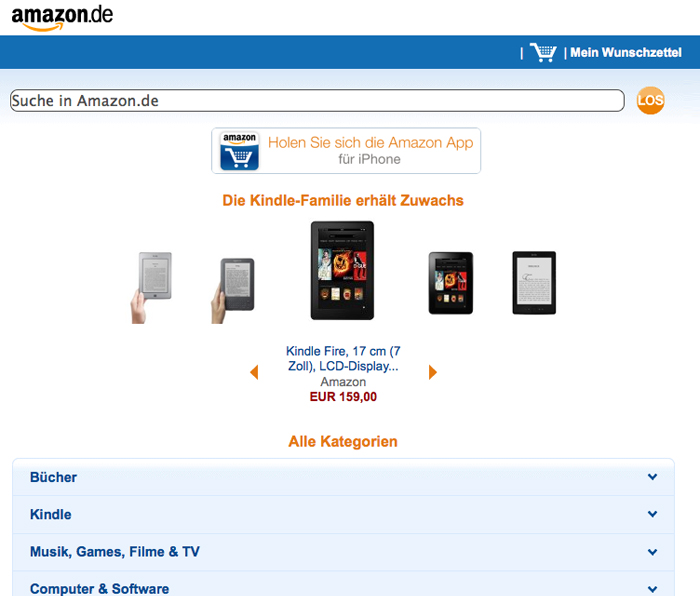 Online-Shop von Amazon