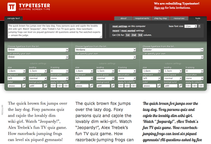 Typetester Tool